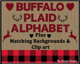 Red Lumberjack Buffalo Plaid UPPERCASE Alphabet with Clip Art and Background - 26 Buffalo Plaid Letters, 2 Printable Digital Paper - PNG #40