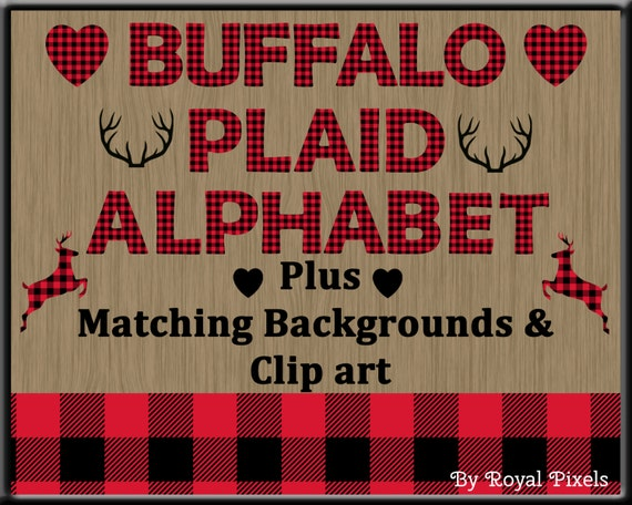 red lumberjack buffalo plaid uppercase alphabet with clip art