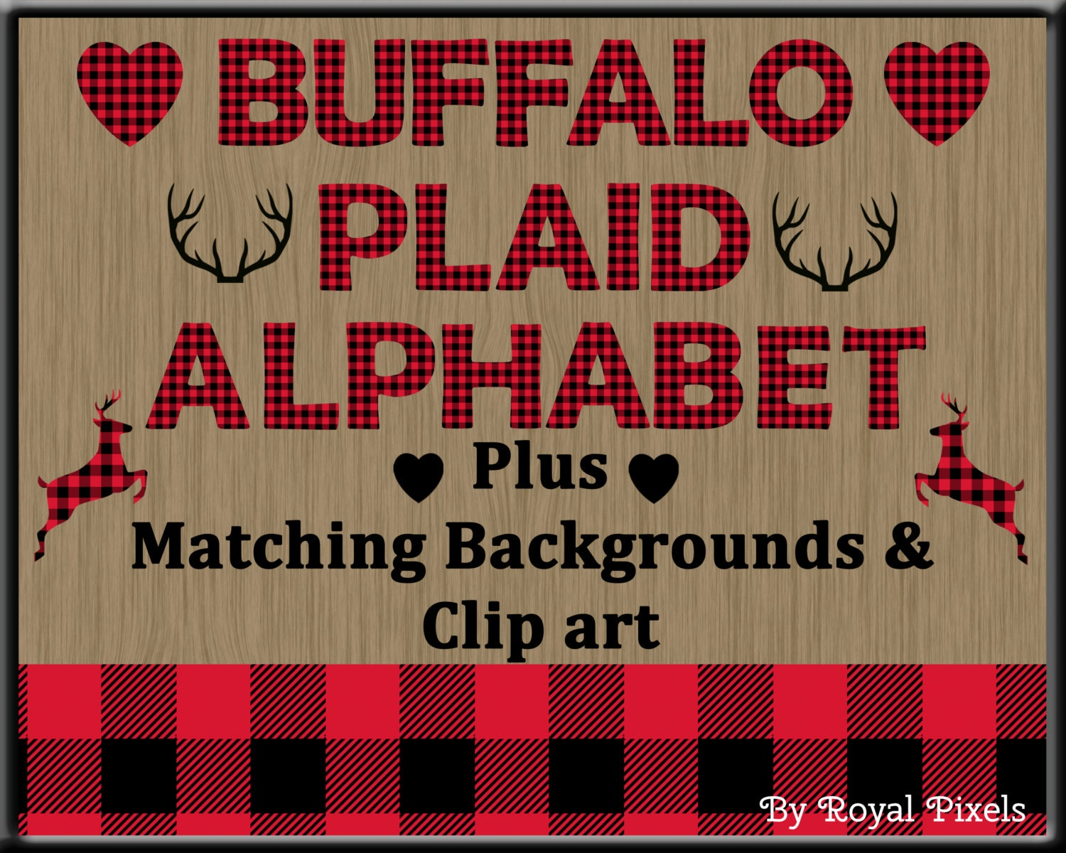 red lumberjack buffalo plaid uppercase alphabet with clip art and background