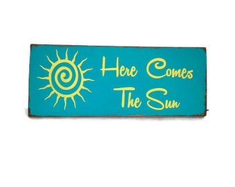 Here Comes the Sun, The Beatles Sun wood sign. Ready to Ship pallet art FREE SHIPPING