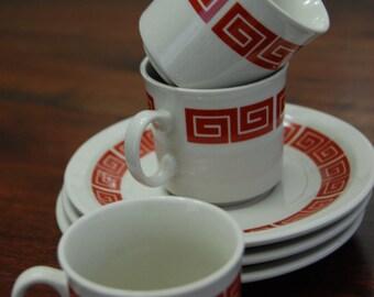 Vintage  Retro  Espresso Cup and Saucer -set of 3