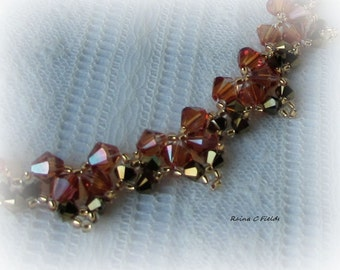 Amber and Brown Swarovski Crystal Necklace