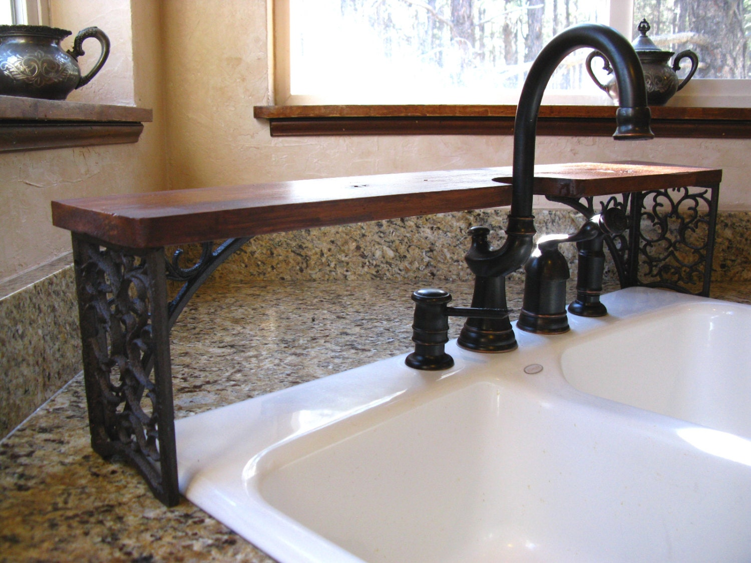 Ornate Over-the-Sink Shelf Wrought-iron-look Cutout For