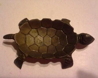 vintage 1960s brass turtle ash tray