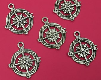 8 Compass Charms, Silver Tone Compass Charms, Silver Tone Compass Charms, Compass Charms, Compass Charm, Compass Pendants, Compass Pendant