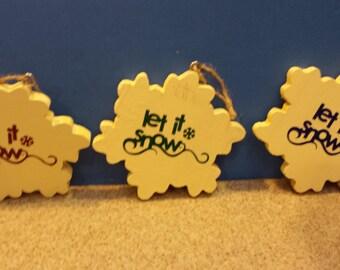 Prim Wooden Snowflake Ornaments
