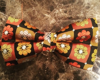Black and Orange Flower bow tie