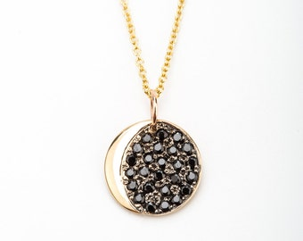Black Diamond Crescent Necklace