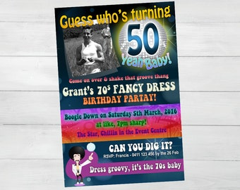 70s THEME BIRTHDAY INVITATION, Personalised Disco 70s theme for 50th 60th 70th 80th birthday invitation