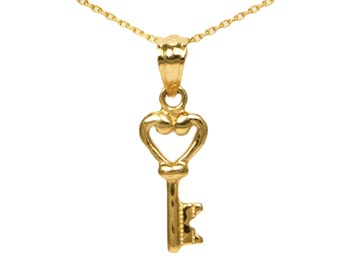 14k Yellow Gold Heart Key Necklace