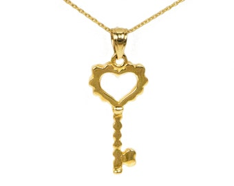 14k Yellow Gold Key Necklace