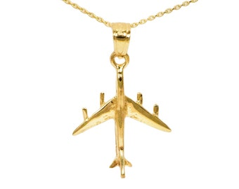 10k Yellow Gold Airplane Necklace