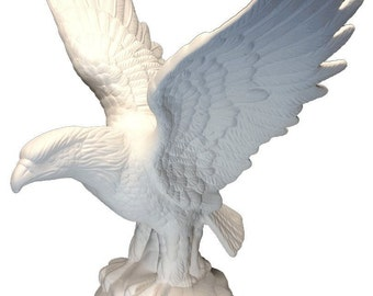 Ceramic Bisque - Ready to Paint - Beautiful Majestic Eagle - Standing on a Rock base with its Wings spread.