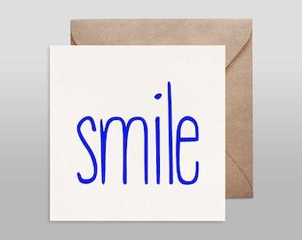 Screenprinted card SMILE blue with kraft envelope