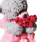 """Gift soap """"Teddy-bear girl with a bouquet of roses"""""""