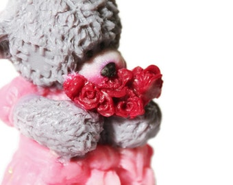 "Gift soap ""Teddy-bear girl with a bouquet of roses"""
