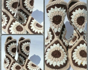Granny square slippers.  Handmade crochet slippers