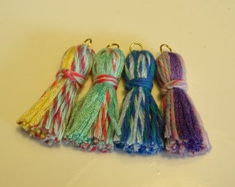 4 cute candy-color cotton tassels.  Handmade. Suitalbe for jewelry or garland making. Kawaii