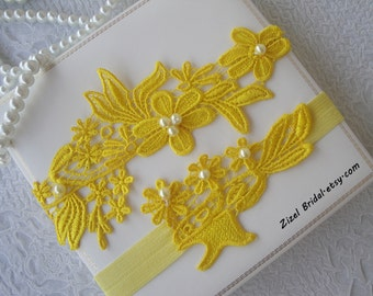 Yellow Wedding Garter, Bridal Garter, Wedding Garter Set, Yellow Garter Set, Wedding Clothing, Ivory Lace Garter, Yellow Garter, Garter Set