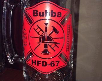 Personalized Fireman Beer Mug