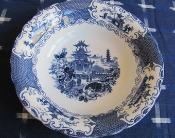 Vintage Blue and White Pagoda Bowl