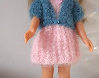"""Vêtements de poupée 32/33 cm 13"""" genre Corolle """"chéries"""", Paola Reina, équivalent. Robe, veste ballerines, headband, mohair """"chic et chaud"""""""