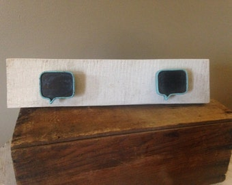 Distressed White Chalkboard Bubble Coat Hanger
