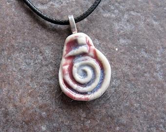 Spiral pendant, porcelain pendant, ceramic pendant, red white and blue pendant, ceramic jewellery, porcelain jewellery