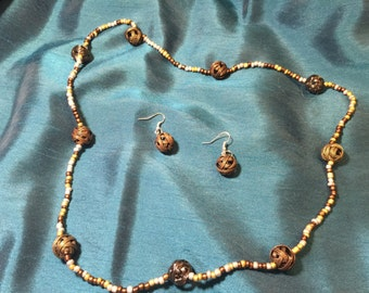 "29"" metal and glass bead necklace and earrings"