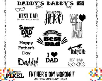 FATHER'S DAY WORDART, Photoshop Overlays, Text Overlay, Clipart, Clip Art, Wordart, Word Art, Digital Scrapbooking, Instant Download