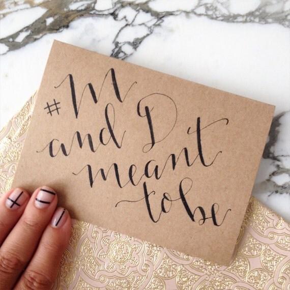 Hashtag card custom modern calligraphy