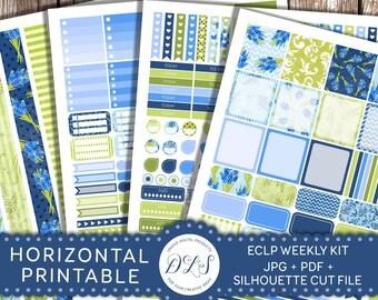 Horizontal Planner Kit, EC Horizontal Planner Stickers, Weekly Planner Stickers, Spring Planner Stickers, Erin Condren PDF