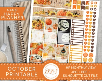 OCTOBER Happy Planner Monthly View Kit Mambi Stickers Halloween Planner Pumpkin Orange Black Printable Planner Instant Download HPMV105