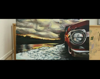 "Original ""Truck on Sunset Lake"" oil painting"