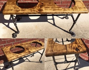 Industrial Pipe Dog Bowl Stand