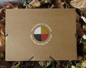 Unique recycled box folder with Native American Lakota wisdom quote,medicine wheel,4 directions, shamanic