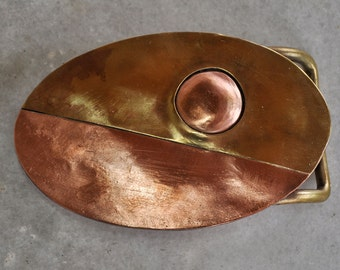 Handmade Belt Buckle in brass and copper