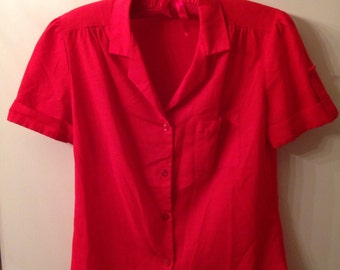 Red Vintage button up blouse