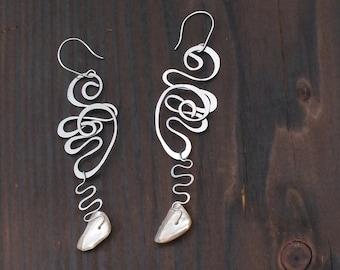 Pearl shell & Surgical steel Earrings; Handmade hammered surgical steel earrings with Pearl shell fragments