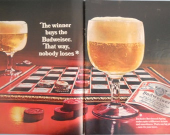 Budweiser Beer Ad.  1967 Budweiser Beer ad.  2 pages. Beer with Checkerboard.   Life Magazine.  Oct. 27, 1967.  Full color.