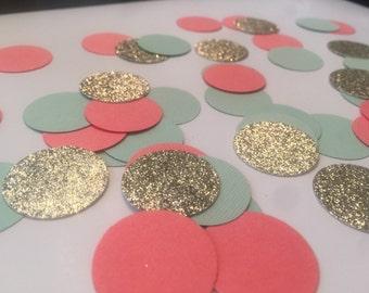 Coral Mint Gold Party Confetti - Wedding - Shower - Bachelorette - Birthday - Decor