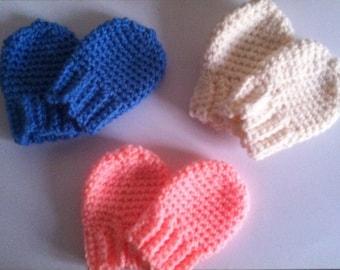 Baby mittens, Newborn mittens, Crochet Mittens, Thumbless Mittens