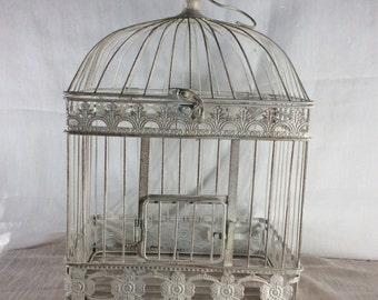 Large rustic off White birdcage, large  Bird Cage Wedding Card Holder, Shower Decor, Money Holder, Bird Cage Card Box