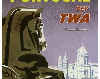 PT02 Vintage Portugal TWA Travel Poster Print