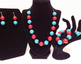 Red, Black, and Blue Beaded Set