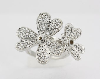 Flower Ring in Sterling Silver   Flower Ring Silver Jewelry Statement Ring