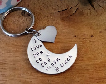 I love you to the moon and back - Personalised Key Ring