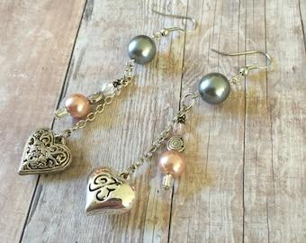 Asymmetrical Silver Heart Charm Earrings