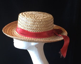 Vintage straw boaters styled hat