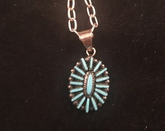 Native American Zuni Turquoise & Sterling Silver Needle Point Pendant